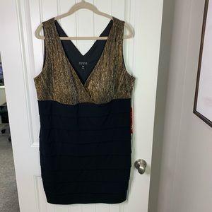 Enfocus women wrap top metallic tiered dress 20w